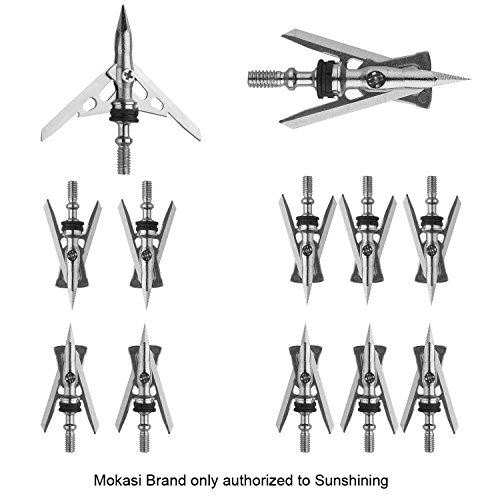 SDTG 12pcs Archery Official SlipCam Hypodermic Broadheads 2 Blade 100 Grain 2+