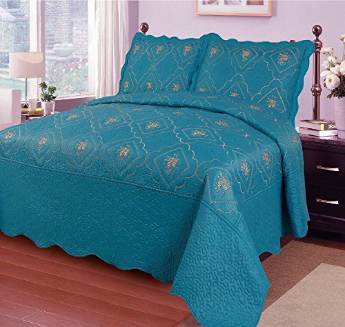 - Big 7 Home 3pcs Embroidery Polyester Solid Quilt Twin Full Queen King Size Bed Cover Ensemble Coverlet Set Bedspread W/pillow Shams (King, Lake Blue)