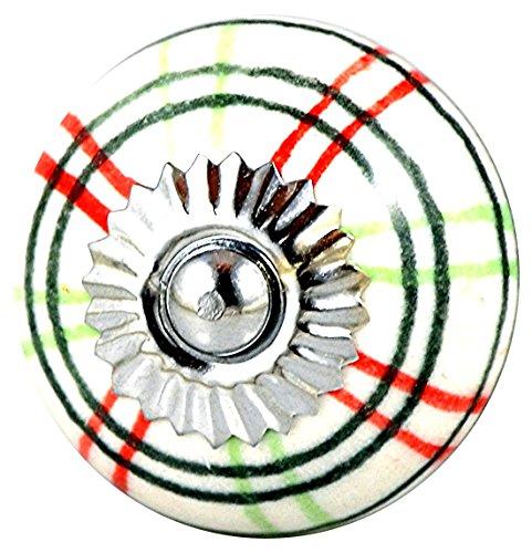 Charleston Plaid - Charleston Knob Company EVC-22 Ceramic Checked Knob, Set of 2, Red/Green Plaid