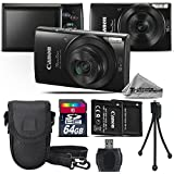 Canon PowerShot ELPH 190 IS Digital Camera (Black) + 64GB Class 10 Memory Card + Backup Battery + Case + Card Reader + Tripod + Cleaning Kit - International Version