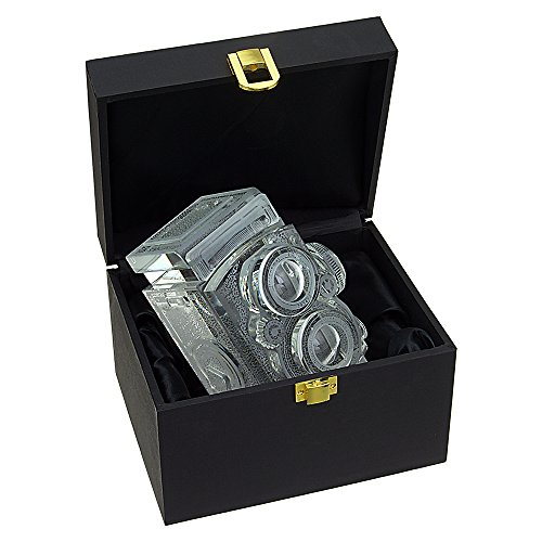 Fotodiox Crystal TLR Camera Display Model - 4/5 Sized Replica of Rolleiflex 2.8 Camera with Zeiss Planar 80mm Lens; Paperweight, Book Shelf, Bookends, Paper Weight