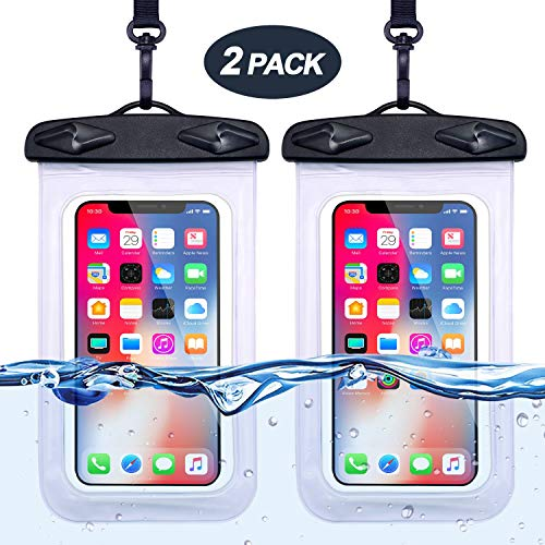 Egchi Universal Waterproof Phone Case, Cellphone Dry Bag Pouch Waterproof Case for Water Games Protect iPhone X 8 7 6 6s Plus Galaxy S9 S8 Edge Note Google Pixel LG HTC (2 Pack, White) (Best Drifting Games For Iphone)