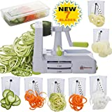 Brieftons 7-Blade Spiralizer: Strongest-and-Heaviest Duty Vegetable Spiral Slicer, Best Veggie Pasta Spaghetti Maker