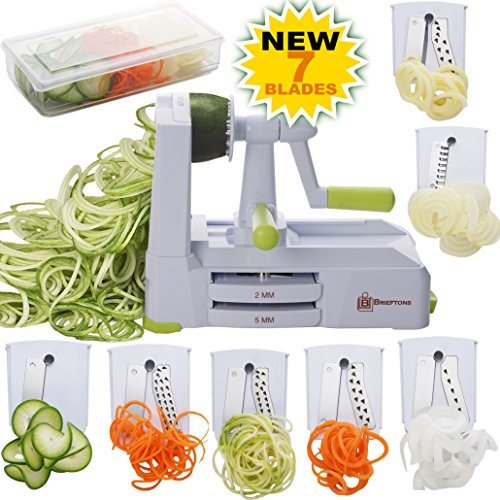 - Brieftons 7-Blade Spiralizer: Strongest-and-Heaviest Duty Vegetable Spiral Slicer, Best Veggie Pasta Spaghetti Maker for Low Carb/Paleo/Gluten-Free, With Container, Lid, Blade Caddy & 4 Recipe Ebooks