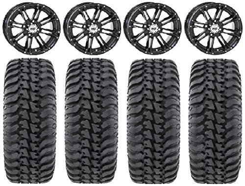 Bundle - 9 Items: STI HD3 14'' Wheels Black 28'' Regulator Tires [4x137 Bolt Pattern 10mmx1.25 Lug Kit] by Powersports Bundle
