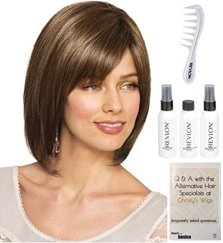 Bundle - 6 items: Veronica Wig by Amore, Christy's Wigs Q & A Booklet, Revlon Synthetic Styling Spray, Texturizing Cleanswer, Conditioner & Wide Tooth Comb - Color ALMOND ROCKA-R ()