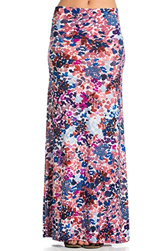 Azules Women's Poly Span Multiple Selection Print Maxi Skirt-Made in USA (Small, Watercolor (Splash Print Skirt)