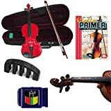 Learn 2 Play Acoustic Violin Red- Violin (Full Size) w/Electric Pickup, Finger Markers, Violin Primer Book, Tuner & Mute