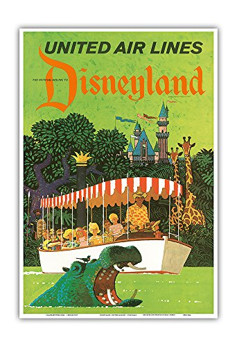 Pacifica Island Art Disneyland California - United Air Lines - Adventureland Jungle Cruise Hippo - Vintage Airline Travel Poster by Stan Galli c.1960s - Master Art Print - 13in x 19in