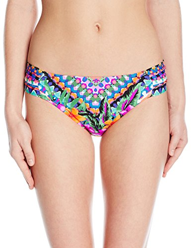 (Kenneth Cole REACTION Women's Adventure Awaits Geometric Sash Tab Hipster Bikini Bottom with Side Shirring, Multi, S)