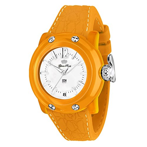 Glam Rock Women's 'Miss Miami Beach' Swiss Quartz Plastic and Silicone Casual Watch, Color:Orange (Model: GR23014)