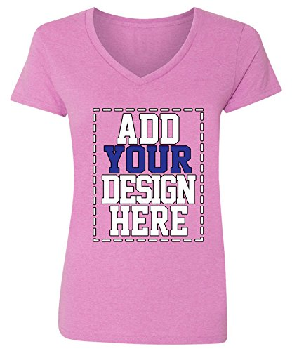 (Custom V Neck T Shirts for Women - Make Your OWN Shirt - Add Your Design Picture Photo Text Printing )
