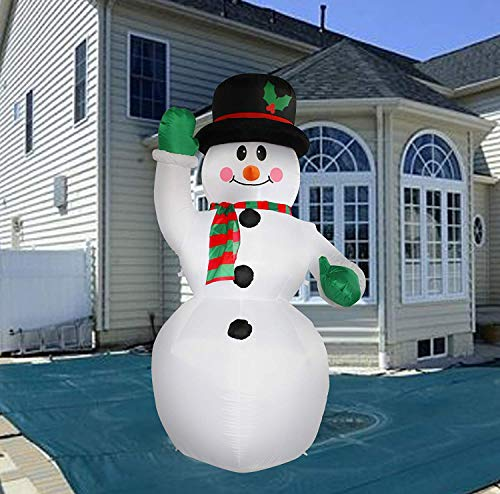 SEASONBLOW 7 Ft Inflatable Winter Xmas Gift Christmas Snowman Decoration Blow Up Indoor and Outdoor Lawn Yard Decorations
