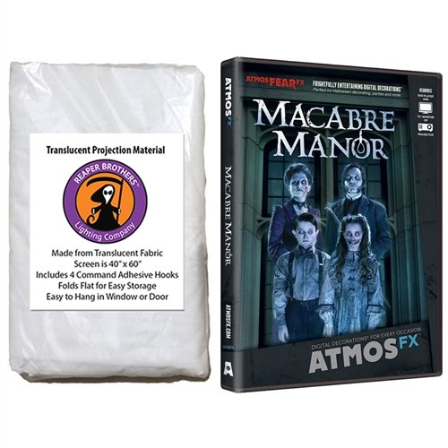 Kringle Bros AtmosFearFX Macabre Manor Halloween DVD and Reaper Brothers High Resolution Window Projection Screen -