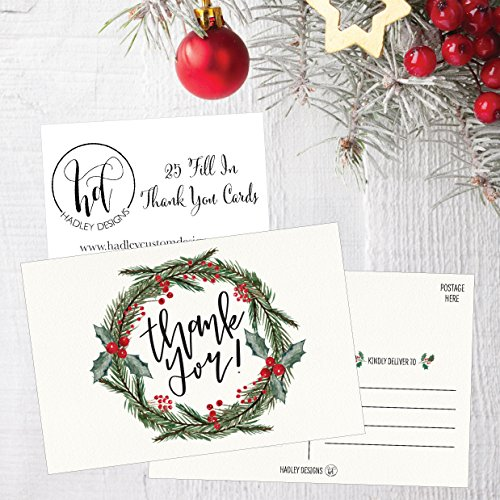 25 4x6 Blank Christmas Holiday Thank You Postcards Bulk, Cute Modern Fancy Winter Note Card Stationery For Wedding Bridesmaids, Bridal or Baby Shower, Teachers, Appreciation, Religious, Business Cards Photo #4