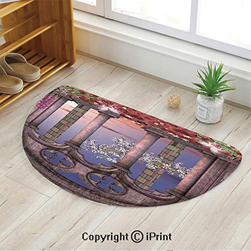 LEFEDZYLJHGO Semi Circle Super Soft Bath Room Micro Fiber Bath Rug,Ancient Colonnade in Secret Garden with Flowers at Sunset Enchanted Forest,47