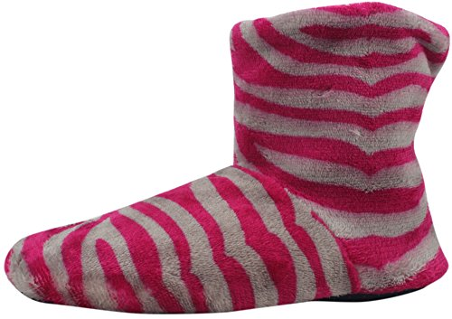 Enimay Womens Fashion Plush Faux Fur Zebra Print Indoor Non Slip House Slippers Hot Pink | Grey - 3