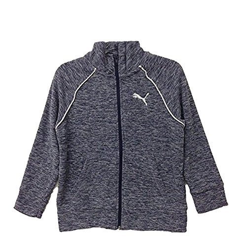 PUMA Girls' Full Zip Fleece Jacket (Navy Heather, Medium(8/10))