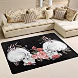 Naanle Floral Roses Skull Area Rug 4'x6', Day of The Dead Vintage Polyester Area Rug Mat for Living Dining Dorm Room Bedroom Home Decorative