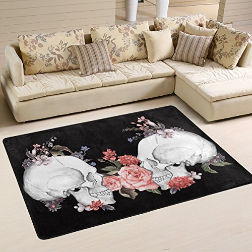 Naanle Floral Roses Skull Area Rug 2'x3', Day of The Dead Vintage Polyester Area Rug Mat for Living Dining Dorm Room Bedroom Home (Floral Polyester Rug)
