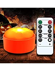 Gogsic Halloween Pumpkin Lights with Remote and Timer,Battery Operated LED Bright Realistic Flameless Electric Candles for Jack-O-Lantern Decor Pumpkin Lantern Halloween Party Holiday
