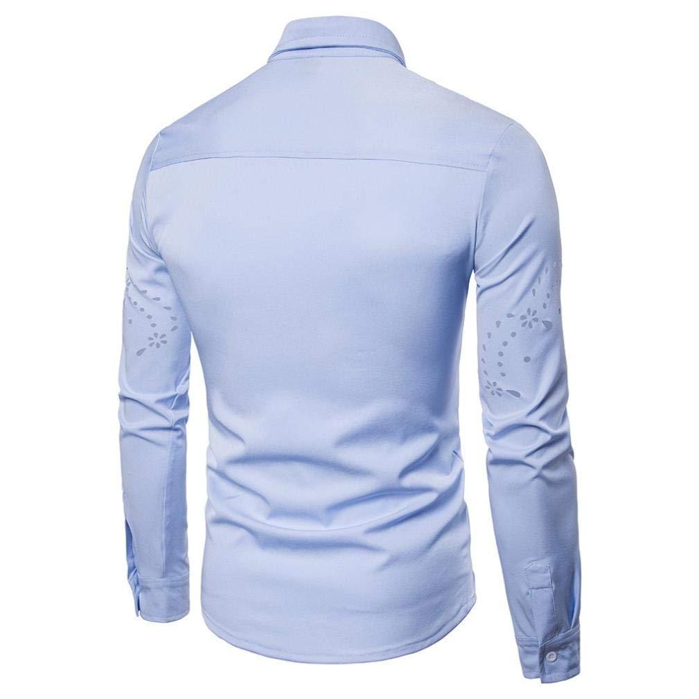 JaHGDU Mens Fashion Autumn Casual Shirts Long Sleeve Shirt Hollow Shirt Top Blouse Leisure Shirts Mens Slim Fit