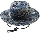 Albabara Men's Camo Wide Brim Boonie Army Hungting Sun Hats, Blue Camo