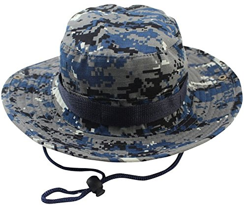 Albabara Men's Camo Wide Brim Boonie Army Hungting Sun Hats, Blue Camo - Mens Navy Blue Bull