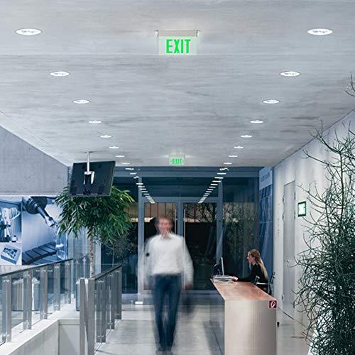 LEONLITE LED Edge Lit Green Exit Sign Single Face with Battery Backup, UL Listed, AC120V/277V, Ceiling/Left End/Back Mount Emergency Light for Hotel, Restaurant, Hospitals, Pack of 6 by LEONLITE (Image #2)