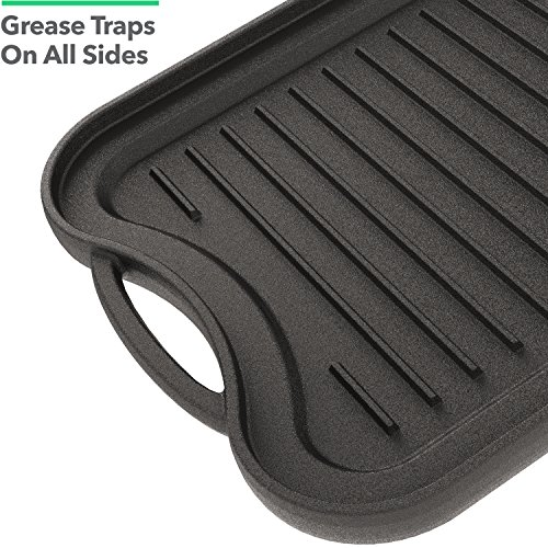 Vremi 20 inch Cast Iron Griddle for Kitchen Stove Top - Large Nonstick Two Burner Flat Universal Pancake Grill Griddle Pan Pre-seasoned Reversible Portable for Indoor Oven Gas Stovetop or Outdoor BBQ by Vremi (Image #2)