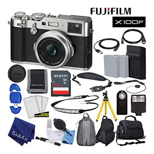 Fujifilm X100F X-Series 24.3 MP Point & Shoot Digital Camera (Silver) with Cleaning Kit, 64GB Card and More Advanced Bundle