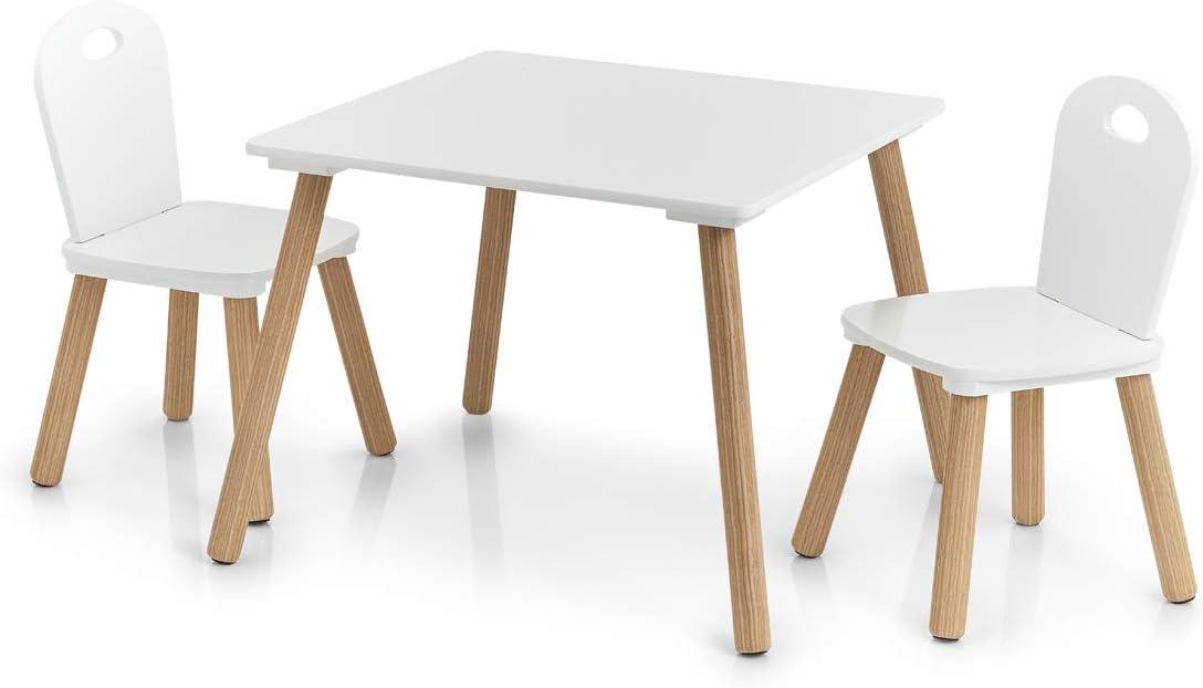 Zeller Scandi-Juego de Muebles Infantiles (3 Piezas), Pino, Tisch: 55x55x43, 5 cm Stuhl: 28x28x50 cm: Amazon.es: Hogar