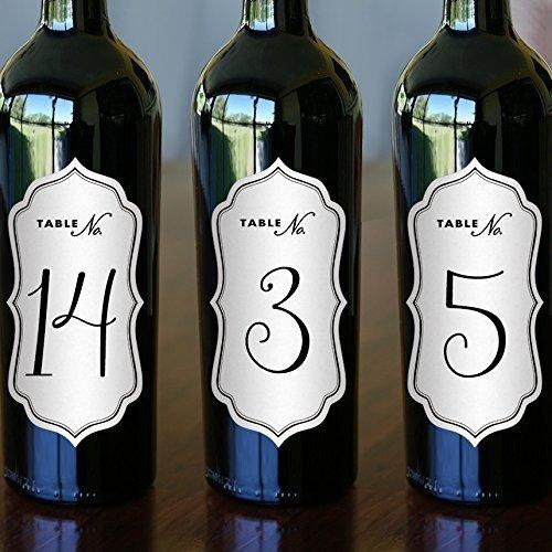 Wine Bottle Brown Kraft Die Cut Labels - Table Numbers - Wine Bottle Table Numbers 2.5