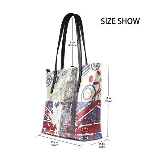 COOSUN Grunge Hintergrund mit Big Ben PU Leder Schultertasche Handtasche und Handtaschen Tasche für Frauen
