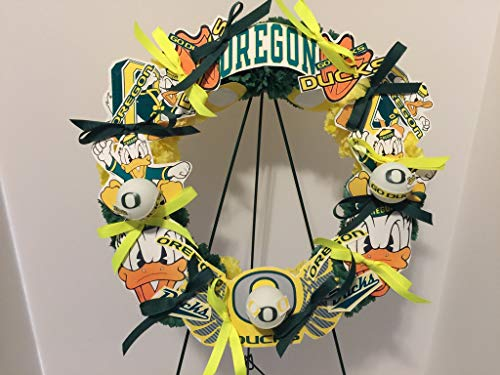 COLLEGE PRIDE - SPIRIT - OU - O - UNIVERSITY OF OREGON - DUCKS - THE OREGON DUCK - DORM DECOR - DORM ROOM - COLLECTOR WREATH - YELLOW AND GREEN CARNATIONS by Peters Partners Design (Image #1)