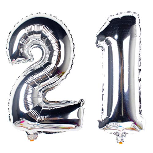 40 in Big Number 21 Balloons Silver Jumbo 21th Mylar Number Balloons for 21st Birthday Party Decorations by AZOWA (Silver, 40 in) -