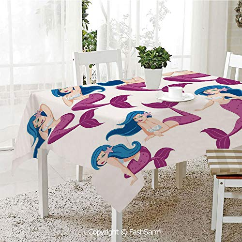 AmaUncle 3D Print Table Cloths Cover Mermaid in
