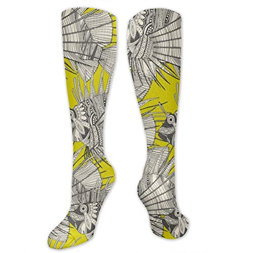 AKNBSocks3 Fish Mirage Chartreuse Ribbon Compression Socks Men & Women - Medical Graduated - Prevent Swelling & DVT Training, Flight Travel, Sedentary Lifestyle - Perfect Maternity & Pregnancy