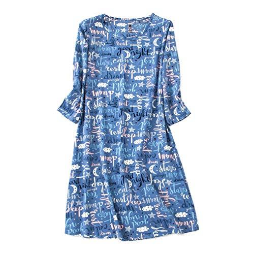 ENJOYNIGHT Womens Cotton Sleepwear Short Sleeves Print Sleepshirt Sleep Tee (Long Sleeves Bule, XXL) - Long Sleeve Womens Nightgown