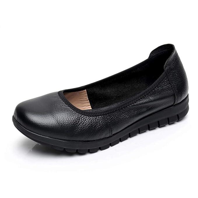 LITHAPP Zapatos De Trabajo Para Mujer Zapatos Planos Zapatos Casuales De Boca Baja Mocasines De Oficina Tamaño Grande Negro: Amazon.es: Ropa y accesorios