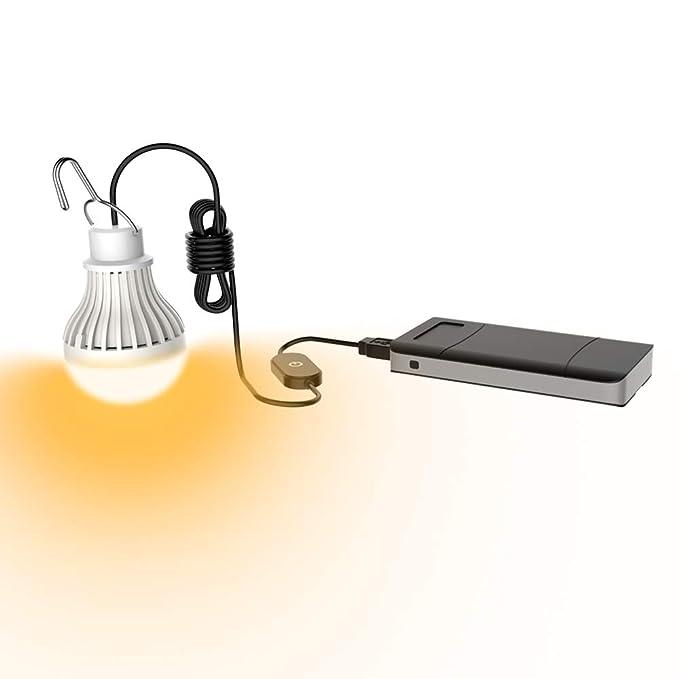 Regulable 5W Bombilla LED Port/átil Tienda de Campa/ña USB Luz de Emergencia para C/ámping Excursionismo Pescar Caza Mochilero Actividades de Monta/ñismo,Blanco C/álido