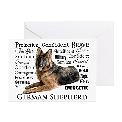 CafePress - German Shepherd Traits Greeting Cards - Greeting Card, Note Card, Birthday Card, Blank Inside Matte ()