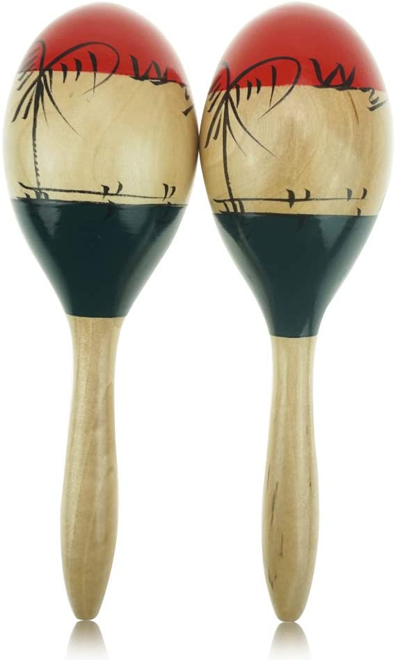 OW Wooden Maracas,Wood RUMBA SHAKERS Set of 2,Easy to Play and Fun Rumba Rattle Shakers,Party Noise Maker,Great Musical Instrument to Warm the parties/' Atmosphere