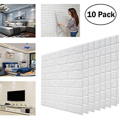 Dragon Honor® 3d pegatinas de pared de ladrillos, PE espuma autoadhesiva Papel tapiz extraíble y Arte Azulejos de pared...