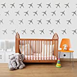 DCTOP Airplanes Wall Decals Wall Sticker Removable Home Decoration Easy to Peel Stick Painted Walls Metallic Silver Vinyl Wall Decor Sticker for Baby Kids Nursery Bedroom (Silver Airplanes)