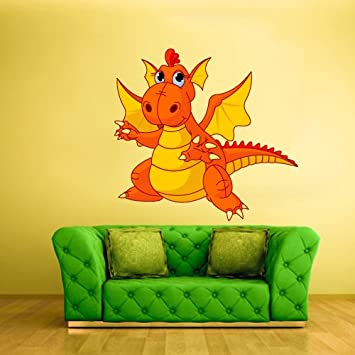 Wall Vinyl Sticker Nursery Cartoon Dragon Fire