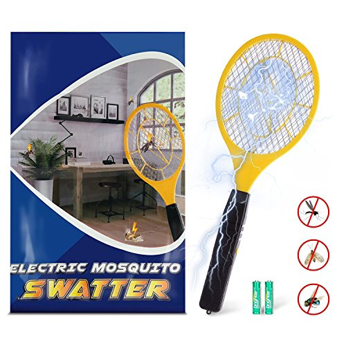 Bug zapper- Electric Fly Swatter ,handheld Insect Fly Killer, Mosquito Zapper against Flies,Bugs,Bees and Other Pest,Unique 3-Layer Safety Mesh Safe to Touch for Indoor and Outdoor Pest (Bug Zapper)