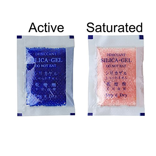 """[25 Packs] 5 Gram Blue """"Dry & Dry"""" Premium Indicating(Blue to Pink) Silica Gel Packets - RECHARGEABLE(Upgraded)"""