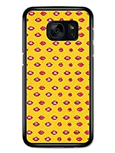 Kiss Lips Pattern Cool Fashion Beauty new Design Style Babes Red and Yellow carcasa de Samsung Galaxy S7