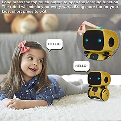 Yoego Kids Interactive Robot Toy, Intelligent Voice Controlled Touch Sensor Robotics with Repeating, Voice Recording, Singing, Dancing, Best Partner for Boys Girls (Yellow): Toys & Games